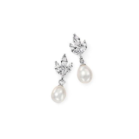 White Pearl and Triple Marquise Earrings