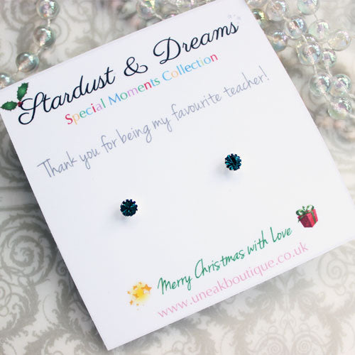 Turquoise Crystal Star Stud Earrings