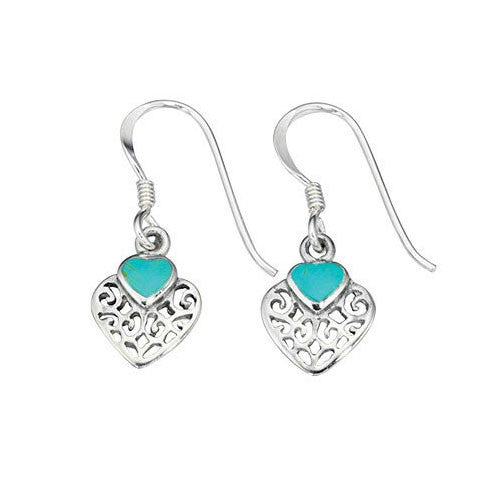 Heart shaped Filigree Turquoise Earrings