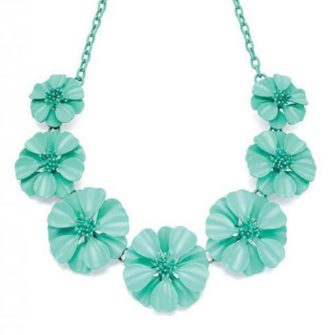 Turquoise Metal Flower Statement Fiorelli Necklace