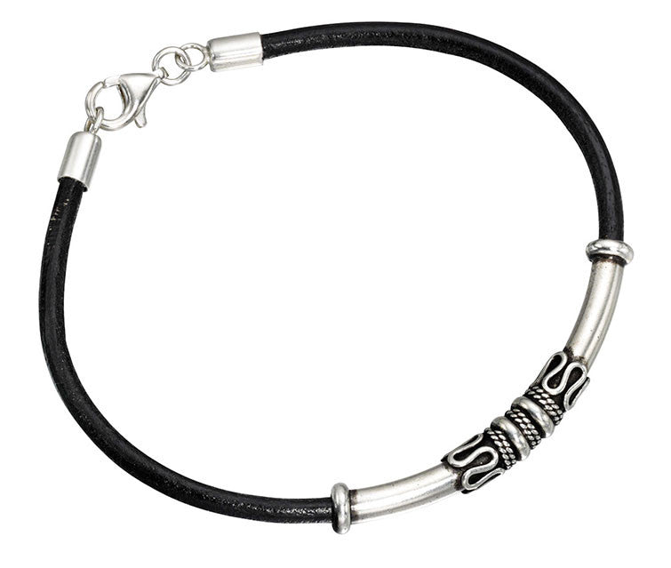 Celtic Leather Mens Silver Bracelet