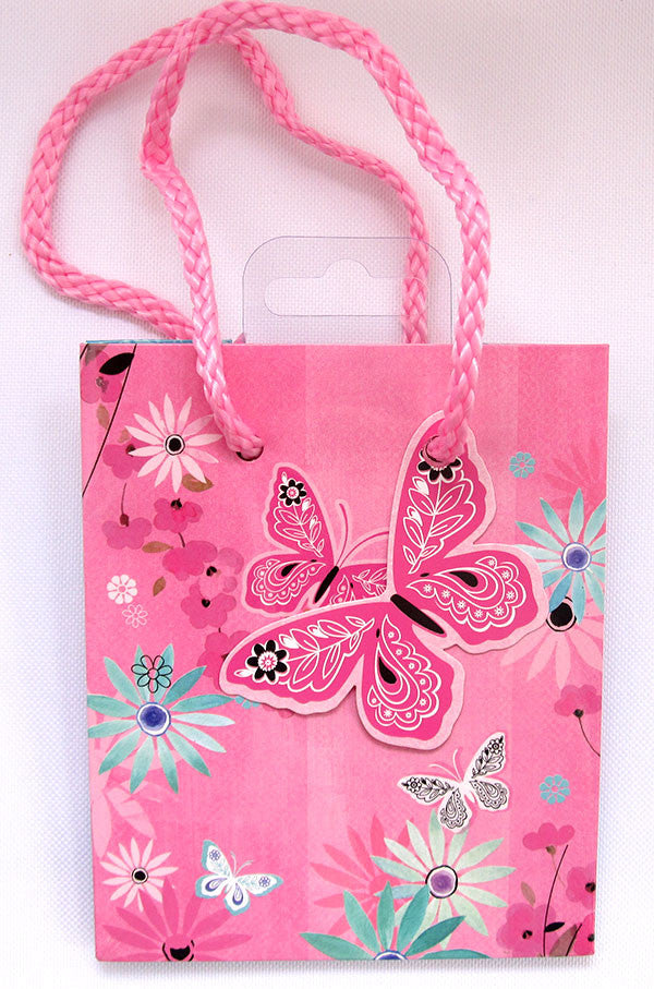 Small Pink Butterfly Gift Bag