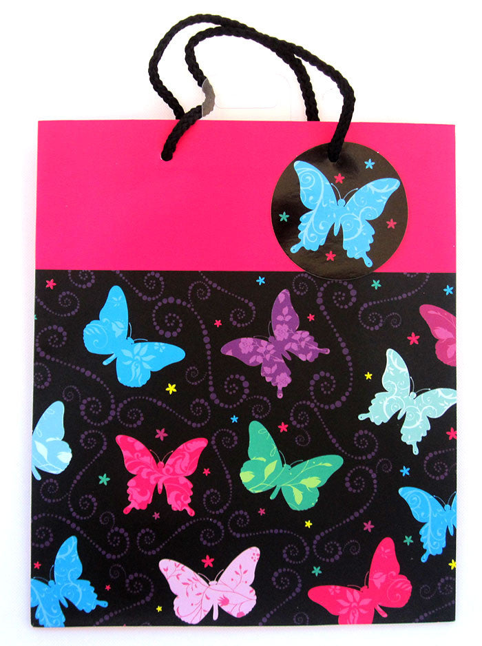 Large Hot Pink & Black Butterfly Gift Bag