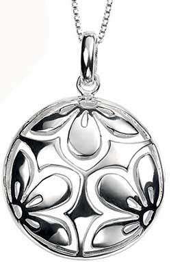 Round Flower Disc Silver Pendant