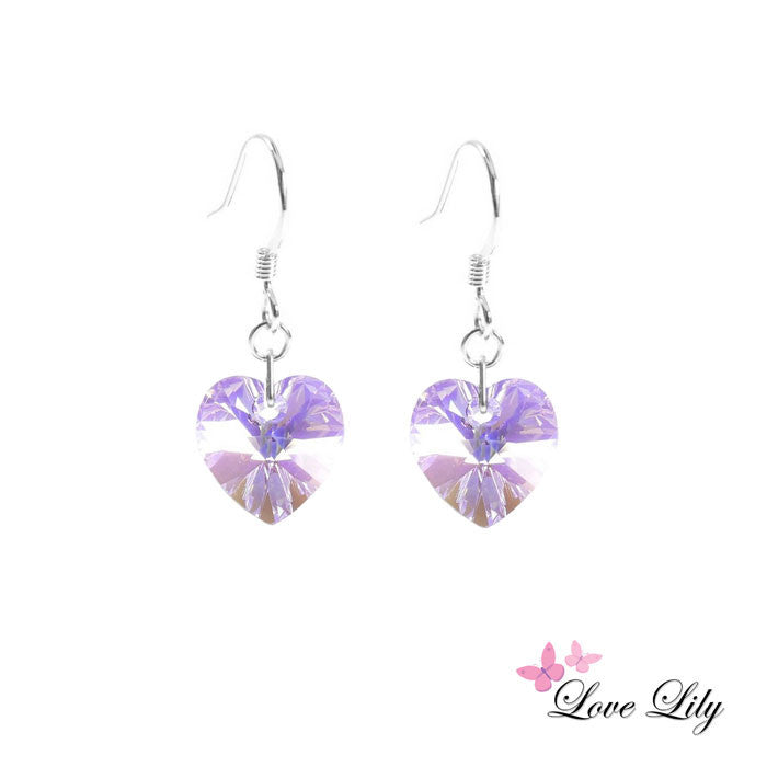 Violet AB Mini Crystal Heart Earrings by Love Lily