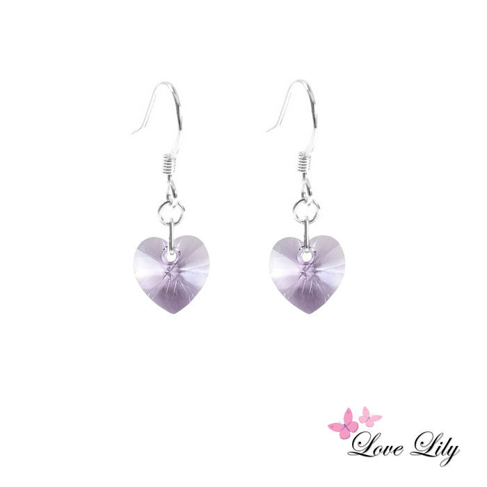 Violet Mini Crystal Heart Earrings by Love Lily