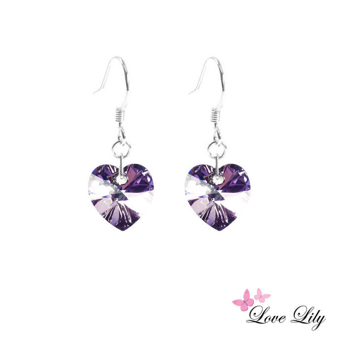 Vitrail Light Mini Crystal Heart Earrings by Love Lily