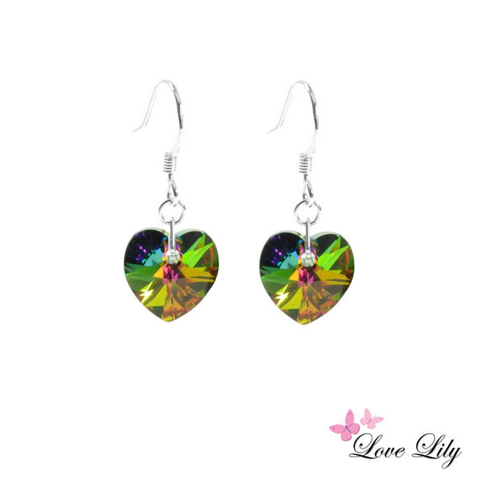 Vitrail Medium Mini Crystal Heart Earrings by Love Lily