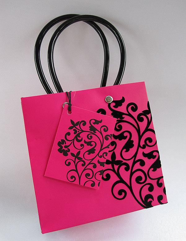 Wow Black Velvet flocked Fuchsia Gift Bag