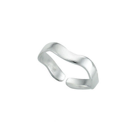 Wavy Band Silver Toe Ring