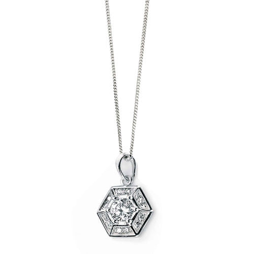 Silver Web Silver Pendant with Cubic Zirconia