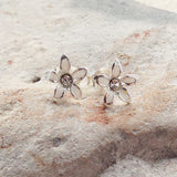 White Enamel Daisy Crystal Stud Earrings