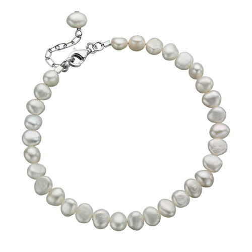 White Freshwater Pearl Bracelet by Elements Silver