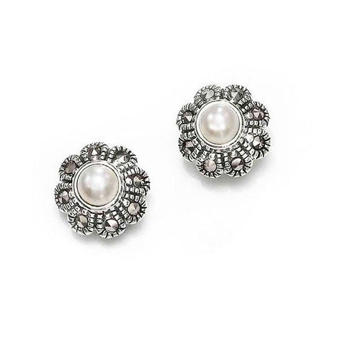 White Pearl Flower Marcasite Earrings