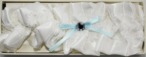 Ivory Satin and Blue Bow Wedding Garter 2