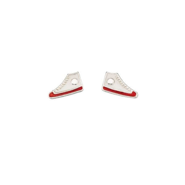 White and Red Baseball Boots Stud Earrings