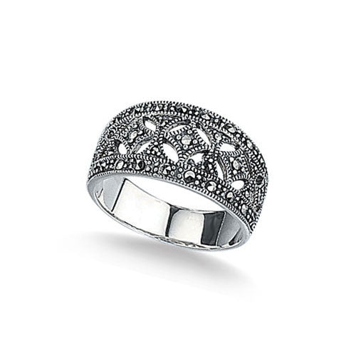 Wide Band Marcasite Ring in Sterling Silver