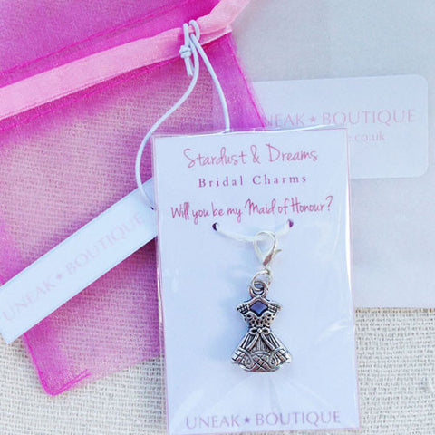 Will You be my Maid of Honour Dress Clip Charm