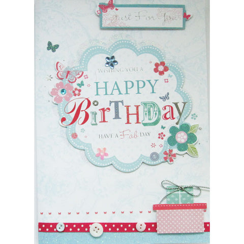 Buttons and Ribbon Glitter Birthday Card