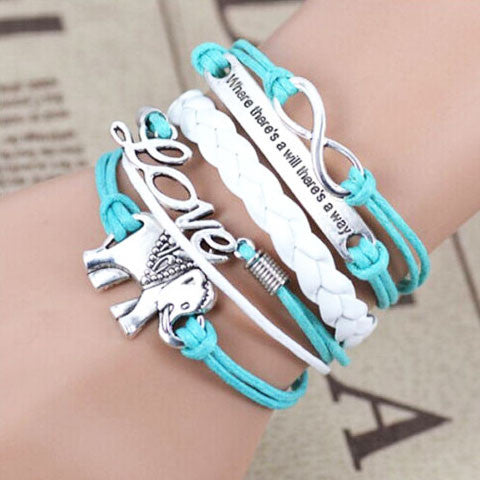 Elephant Love Blue Multi Strands Bracelet