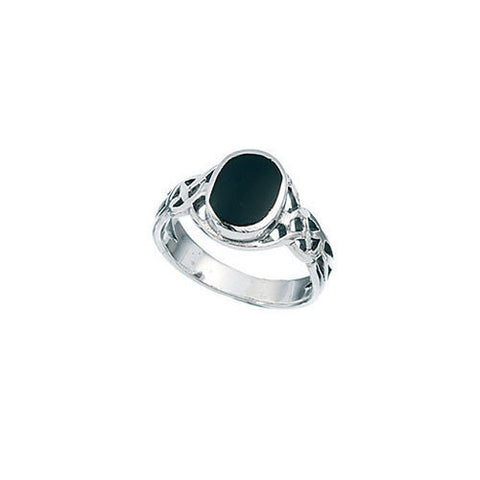 Celtic Oval Black Onyx Boys Ring