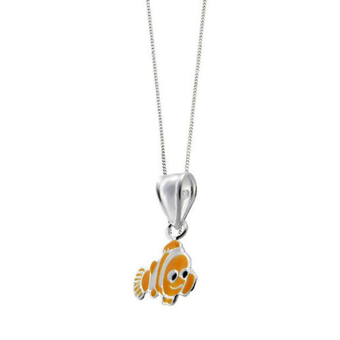 Sterling Silver Enamel Clown Fish Pendant