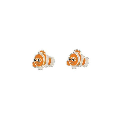 Orange Clown Fish Sterling Silver Stud Earrings