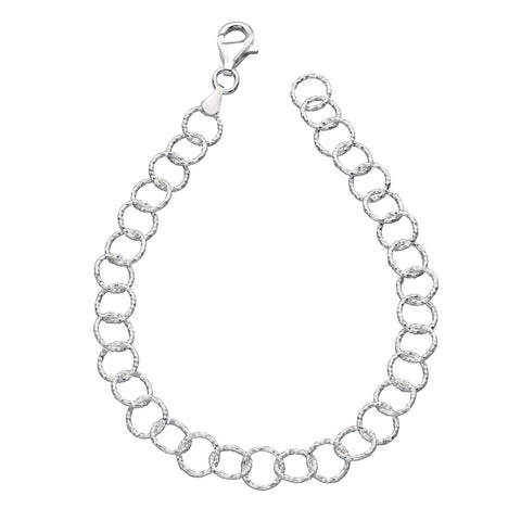 Diamond Cut Links Sterling Silver Bracelet