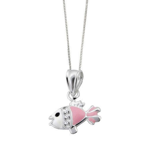 Girls Pink and White Enamel Fish Pendant with Crystal
