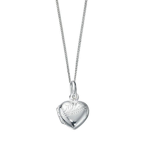 Half Engraved Heart Silver Locket