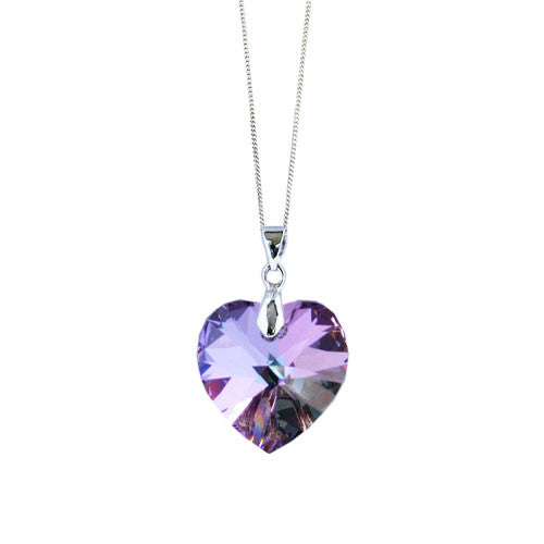 Handmade Necklace with a Vitrail Light Heart Pendant by Love Lily