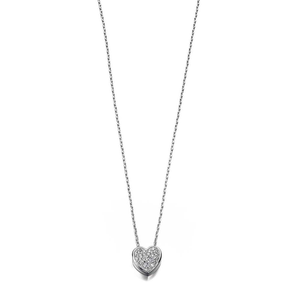 Cosmic Mini Silver Heart Necklace with Cubic Zirconia