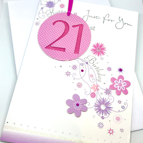 Pretty in Pink 21st Birthday Card