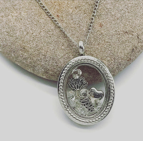Oval Vintage Family Love Memory Locket with Cubic Zirconia
