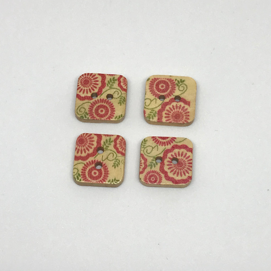 Square Red Floral Wooden Buttons