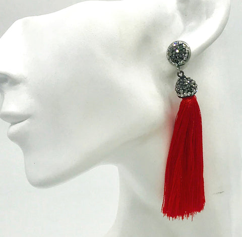 Lamour Crystal Tassel Earrings