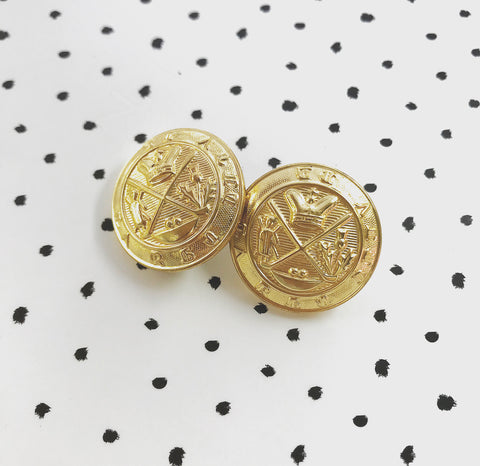 Vintage Large Thistle Crown Military Style Buttons