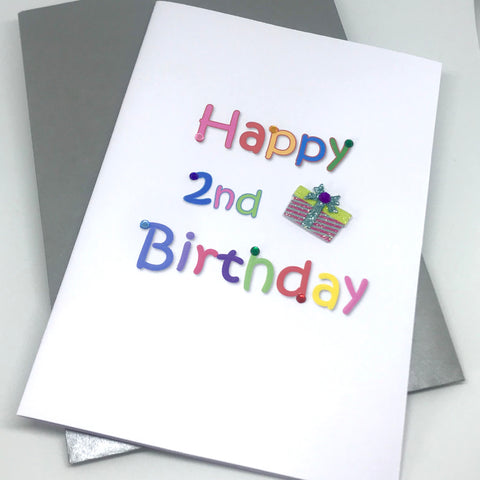 giltter present 2nd birthday card