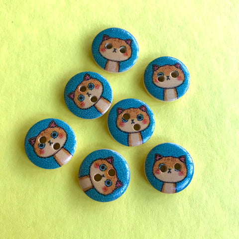 ginger cat Wooden buttons