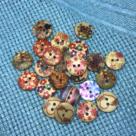 Mixed floral & Heart Wooden Buttons