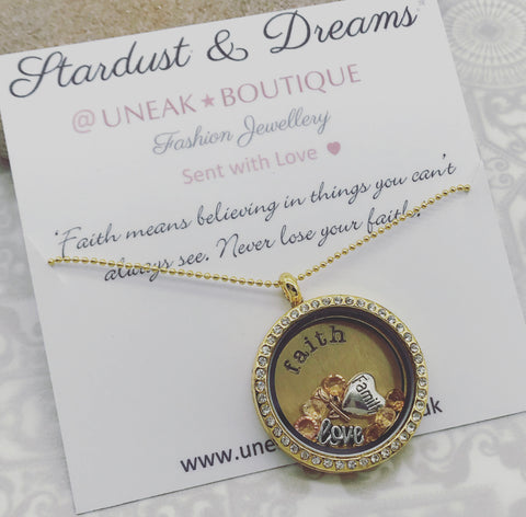 Never Lose Faith Memory Locket with Floating Charms
