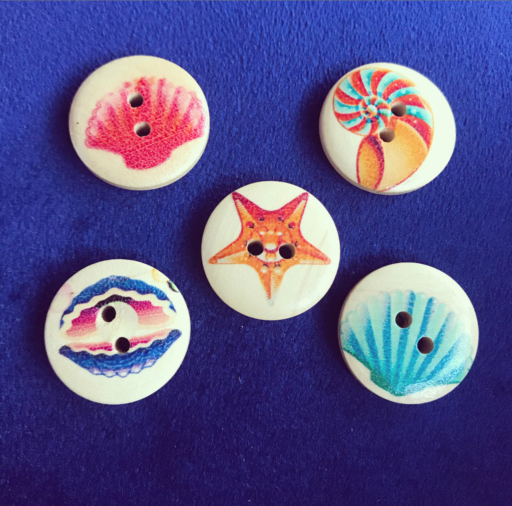 Mixed Seashell Wooden Buttons