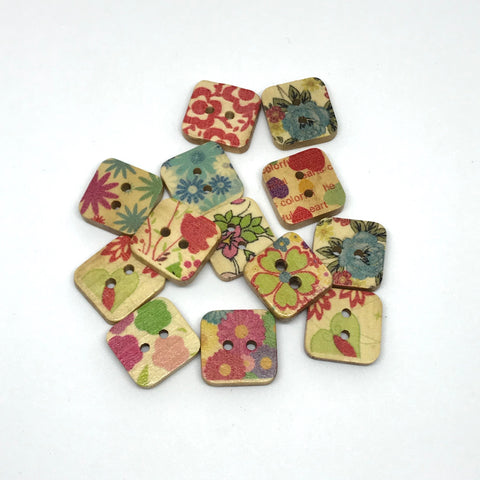 Square Floral Wooden Buttons