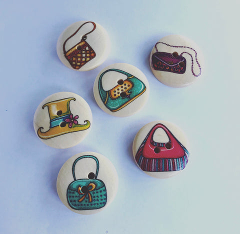Hats and Handbags Wooden Picture Buttons