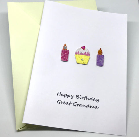 Cup Cakes n Candles Happy Birthday Great Grandma Card