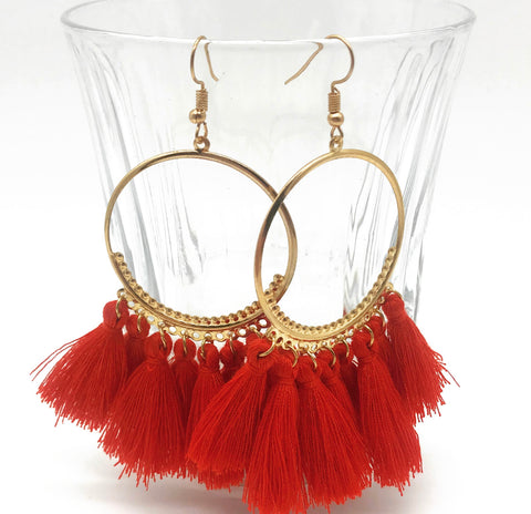 red sky tassel earrings