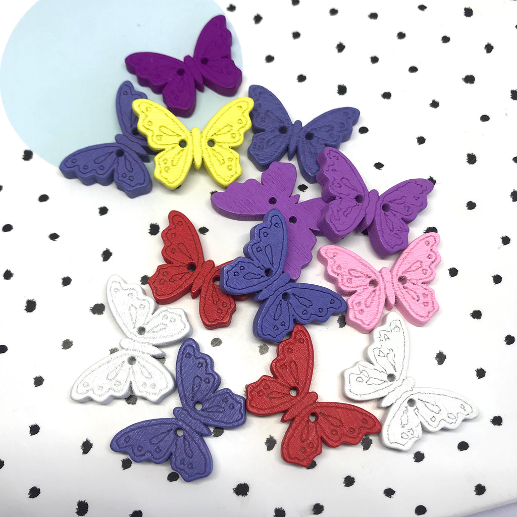 Rainbow Wooden Butterfly Buttons