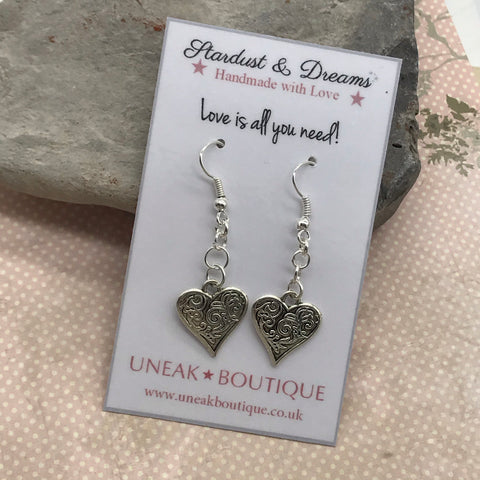 Silver Scroll Heart Earrings