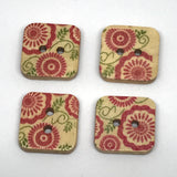 red woodeb floral square buttons