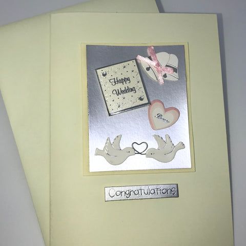 White Doves Congratulations Wedding Card